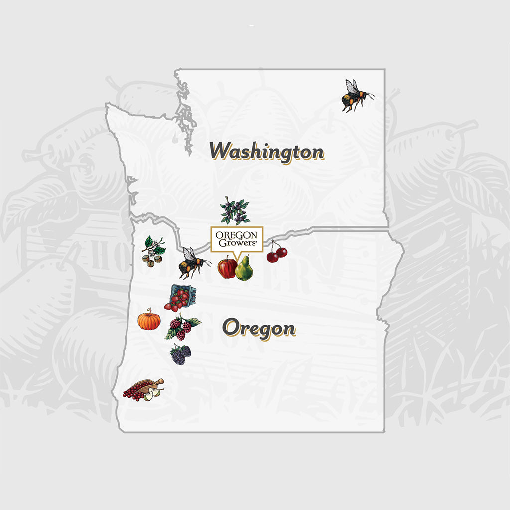 Our Regional map of what our growers harvest