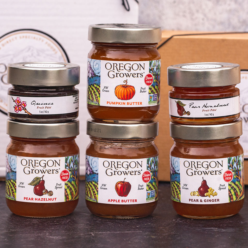 Oregon Growers jam, fruit butter and fruit pate in a gift box