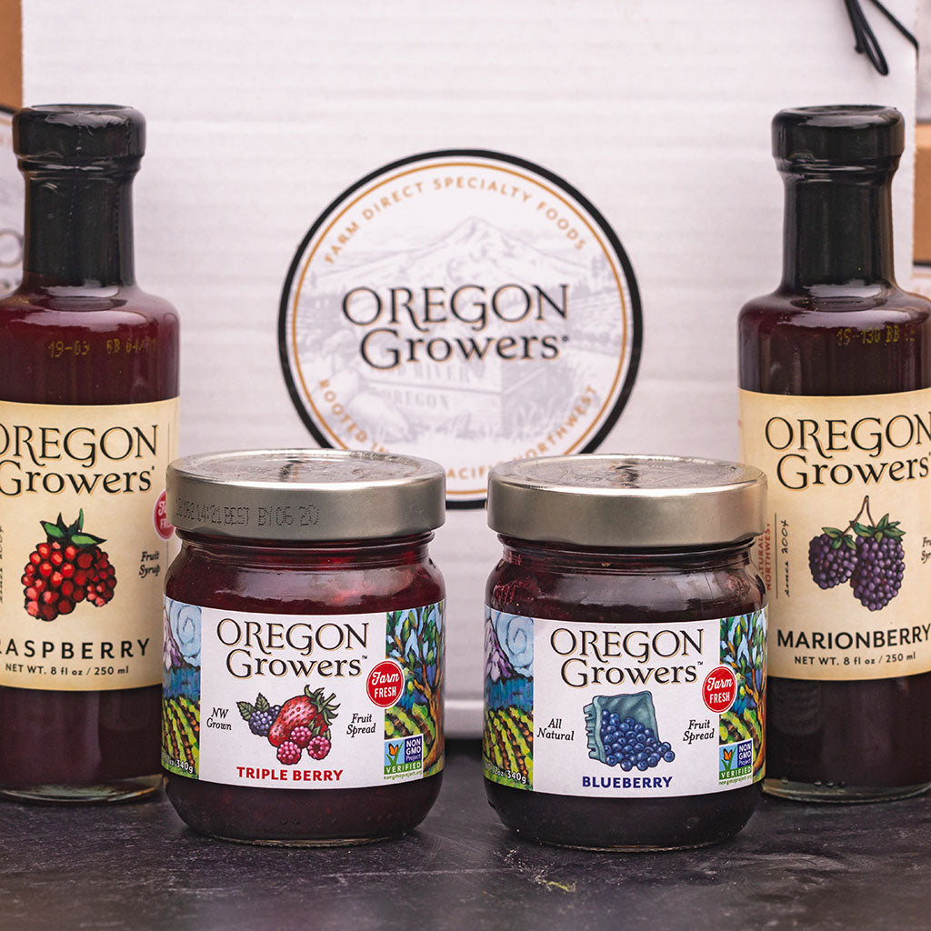 Oregon Growers berry jams and fruit syrups in gift box