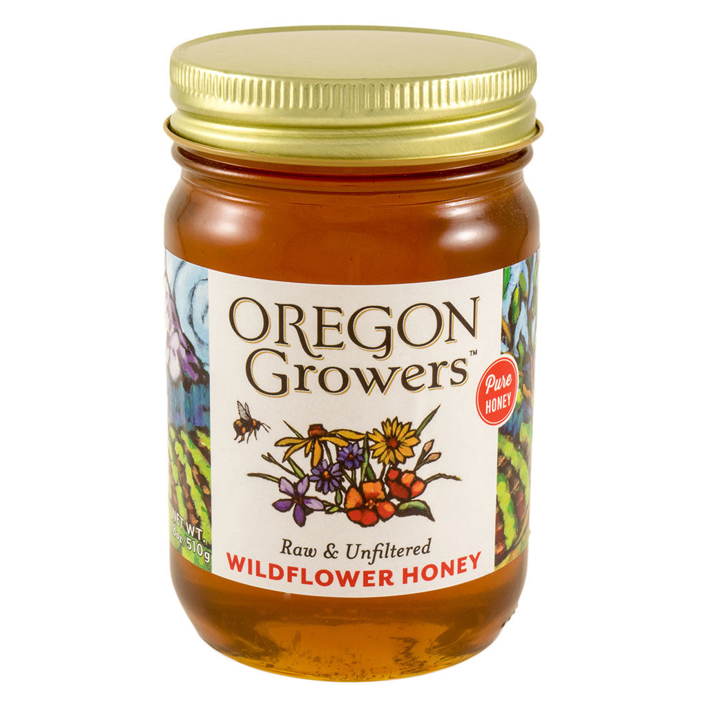 Northwest Wildflower Honey jar, Oregon Growers