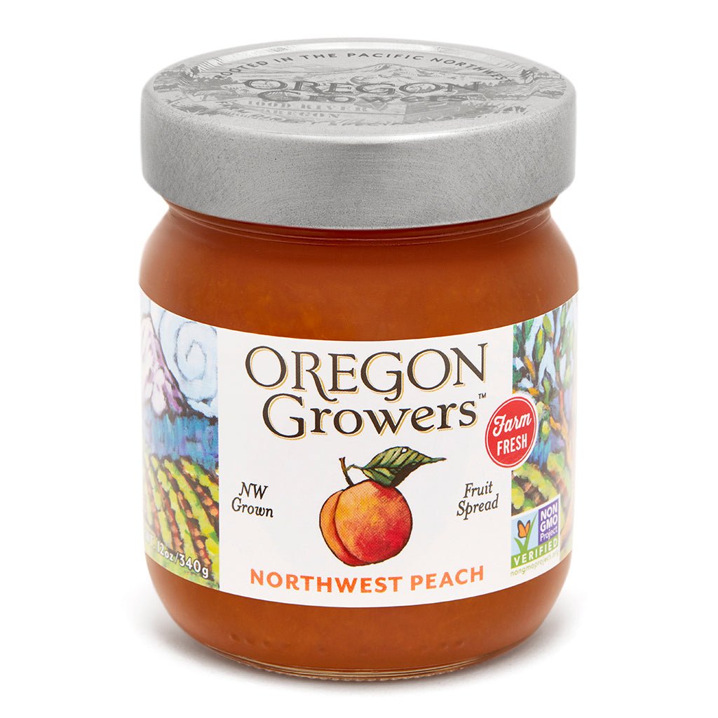 Northwest Peach Jam jar, Oregon Growers