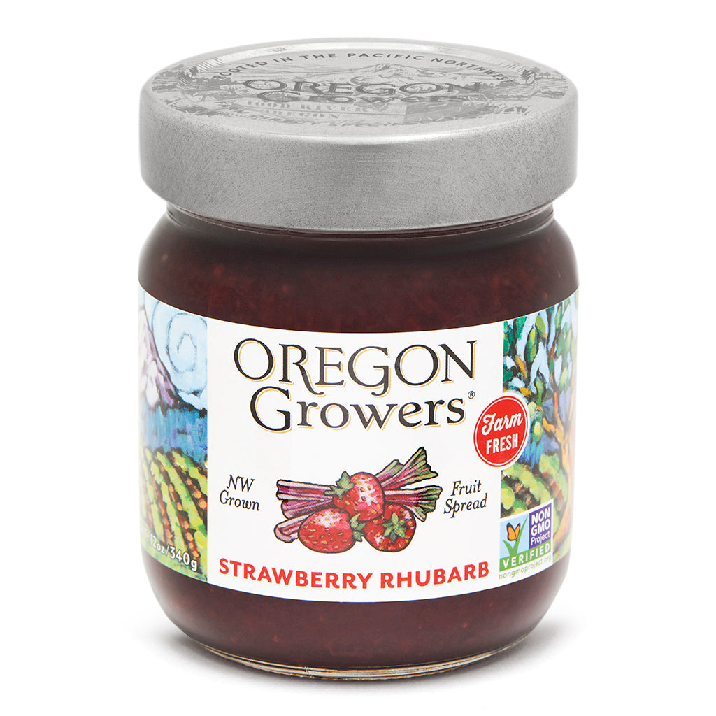 Strawberry Rhubarb Jam jar, Oregon Growers