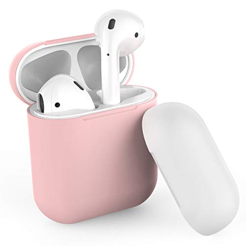 AhaStyle Duotone AirPods Case Cover and Skin Silicone for Apple AirPods Accessories(Body-Pink/Top-Pink,White)