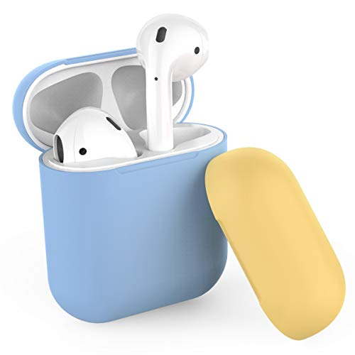 AhaStyle Duotone AirPods Case Cover and Skin Silicone for Apple AirPods Accessories(Body-Sky Blue/Top-Sky Blue,Yellow)