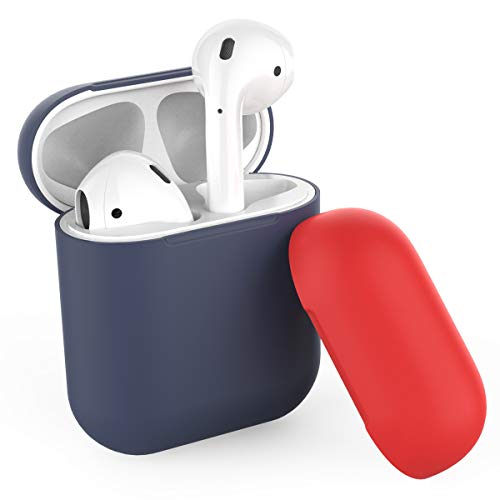 AhaStyle Duotone AirPods Case Cover and Skin Silicone for Apple AirPods Accessories(Body-Navy Blue/Top-Navy Blue,Red)