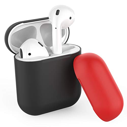 AhaStyle Duotone AirPods Case Cover and Skin Silicone for Apple AirPods Accessories(Body-Black/Top-Black,Red)