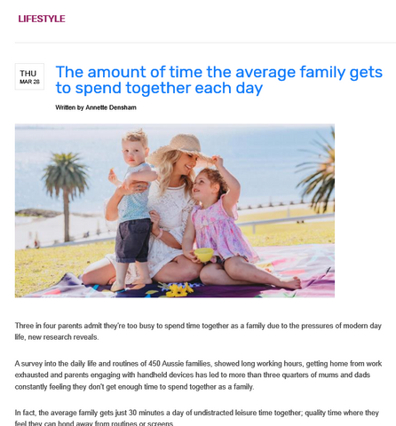 viw magazine picnic season the amount of time the average family gets to spend together each day