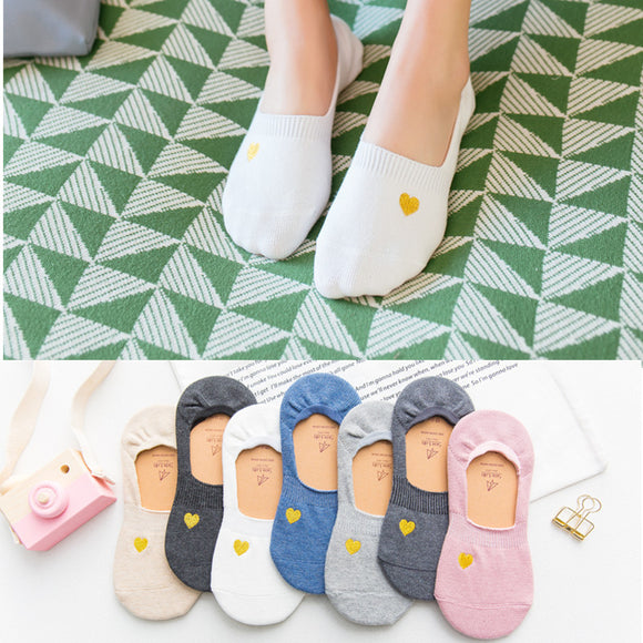 Gold Line Embroidery Solid Color No Show Ankle Invisible Women Socks - chicstocking