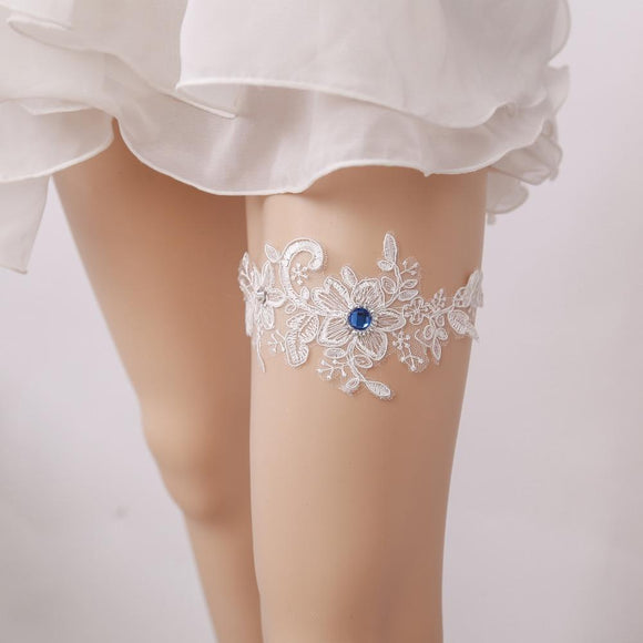 Wedding Garter Blue Rhinestone White Embroidery Floral Sexy Garters for Women/Female/Bride Thigh Ring Bridal Leg Garter - chicstocking