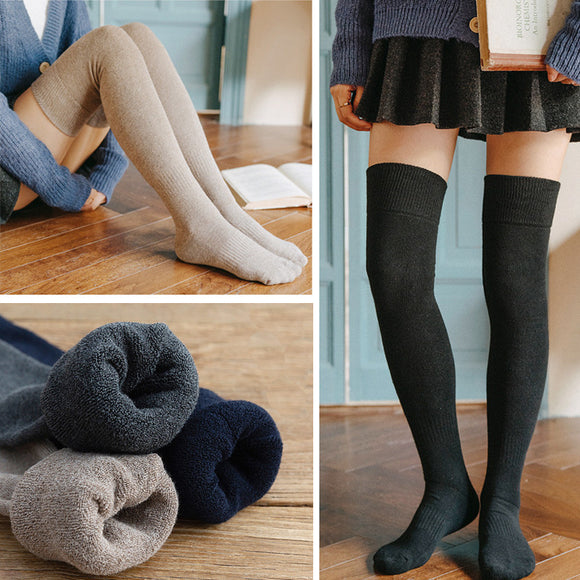 Winter Warm Solid Color Thigh High Stockings
