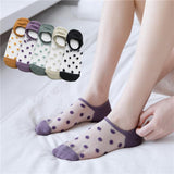 Polka Dots Ankle Invisible Boat Socks - chicstocking
