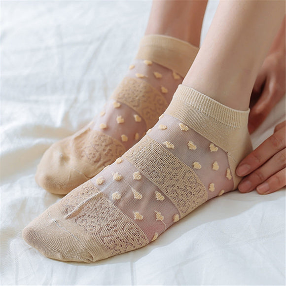 Sweet Love Heart Dot Elastic Transparent Silk No Show Ankle Invisible Socks - chicstocking