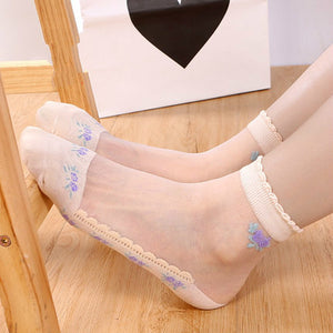 Summer Lace Mesh Cotton Transparent Breathable Ultra-thin Ankle Invisible Socks - chicstocking