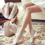 Lolita Bowknot Cross Line Breathable Women Thigh High Stockings Pantyhose - chicstocking