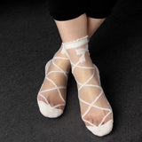 Bowknot Knit Frill Trim Mesh Glass Transparent Ankle Women Socks - chicstocking