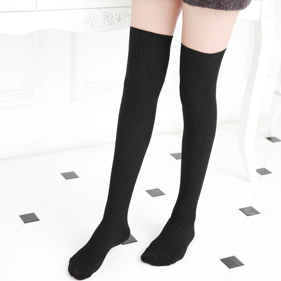 Winter Leg Warmer Solid Color Thigh High Stockings - chicstocking