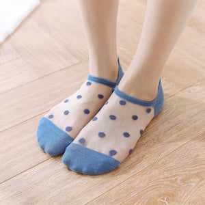 Thin Polka Dot Transparent No Show Ankle Invisible Socks - chicstocking