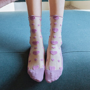 Summer Ultra Thin Love Heart Breathable Glass Silk Short Socks - chicstocking