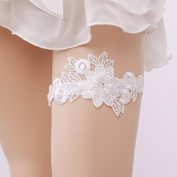 Wedding Garter Rhinestone White Lace Flower Sexy Garters for Women/Female/Bride Thigh Ring Bridal Leg Garter - chicstocking