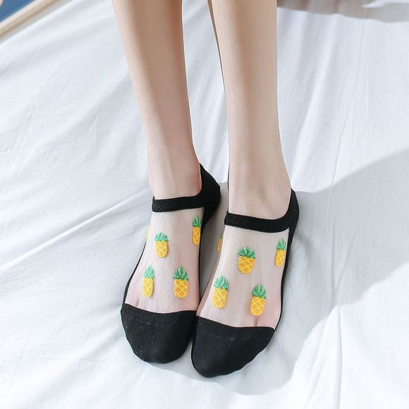 Trasparent Fruit Glass Silk No Show Ankle Invisible Socks - chicstocking