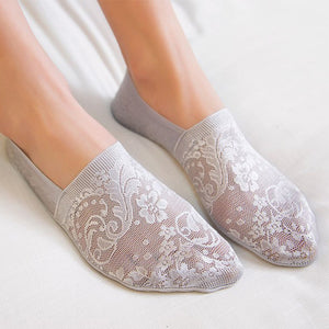 Summer Lace Flower Women Antiskid Cotton No Show Ankle Invisible Socks - chicstocking