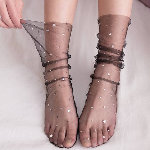 Starry Star Moon Silk Women Socks - chicstocking