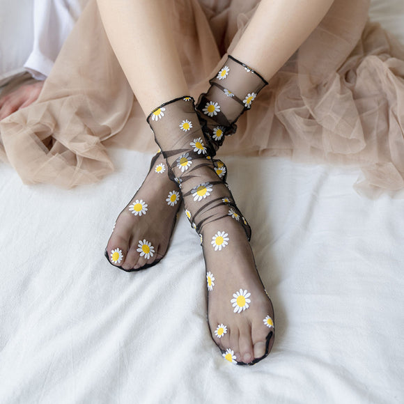 Summer Ultra Thin Transparent Daisy Flower Silk Socks - chicstocking