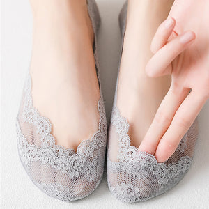 5 Pairs Summer Lace Silicone Anti-skid Invisible Ankle Socks