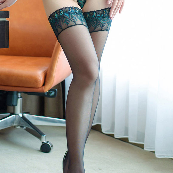 Ultra Elastic Peacock Pattern Lace Sexy Lingerie Fetish Stockings