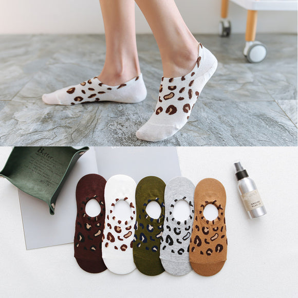Leopard Cheetah Print Cotton No Show Ankle Invisible Socks - chicstocking