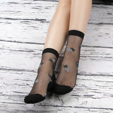 Transparent Summer Sheer Sweet Flower Silk Socks - chicstocking