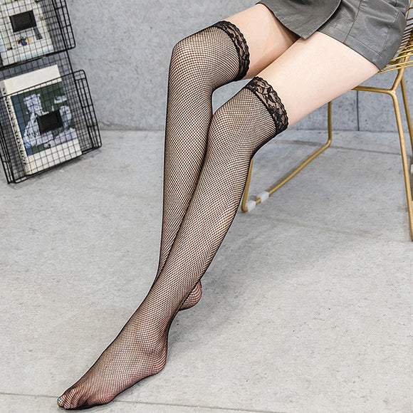 Sexy Lace Flower Fishnet Hollow Out Thigh High Stockings - chicstocking