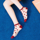 Summer Ultra Thin Polka Dots Breathable Glass Silk Short Socks - chicstocking