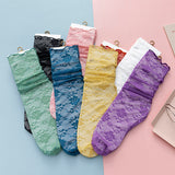 Summer Ultra Thin Lace Flower Mesh Transparent Loose Slouch Socks