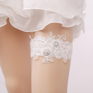 Wedding Garter Blue Rhinestone Embroidery Flower White Sexy Garters for Women/Female/Bride New Bridal Thigh Ring Leg Garter - chicstocking