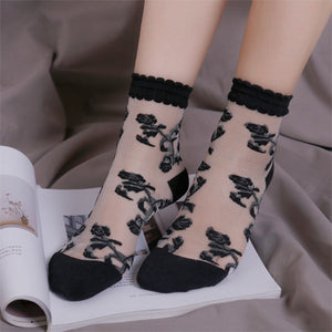 Summer Elastic Mesh Cirrus Lace Flower Glass Stringy Selvedge Women Knee-socks Short Socks - chicstocking