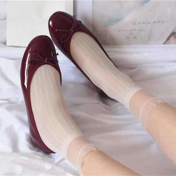Solid Color Elastic Stripe Lace Silk Socks - chicstocking