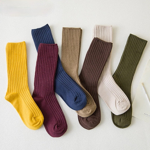 Retro Loose Solid Color Knitting Cotton Long Socks
