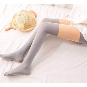 120D Winter Warm Patchwork Thigh High Stockings