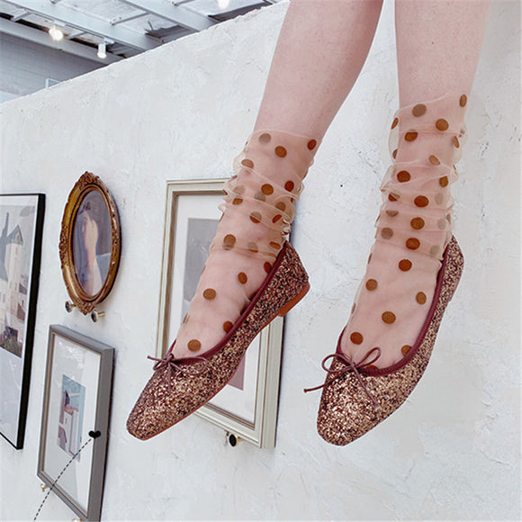 Polka Dot Glass Silk Socks - chicstocking