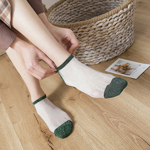 Glitter Glass Silk No Show Ankle Invisible Socks - chicstocking