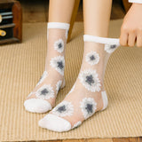 Retro Flower Print Ultra Thin Lace Mesh Loose Socks