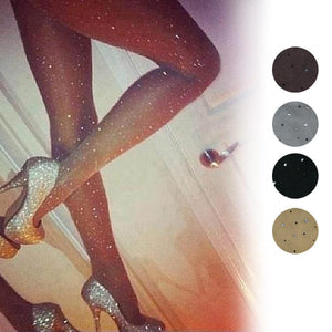 Sexy Stretch Ultra Thin Bling Pantyhose Crystal Rhinestone Tights Slim Stockings - chicstocking