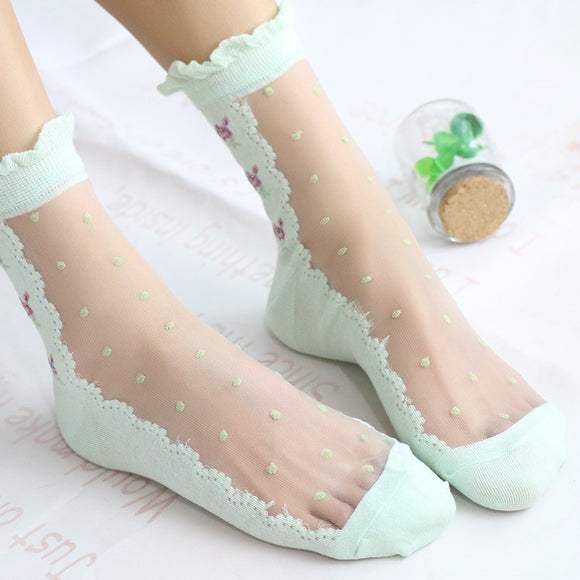 Lace Flower Dot Socks - chicstocking