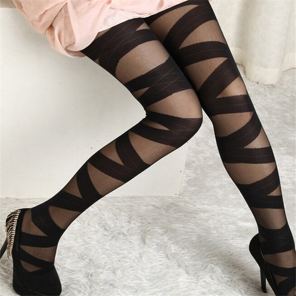 Bundle Pattern Stripe Black Tights Stockings Pantyhose - chicstocking