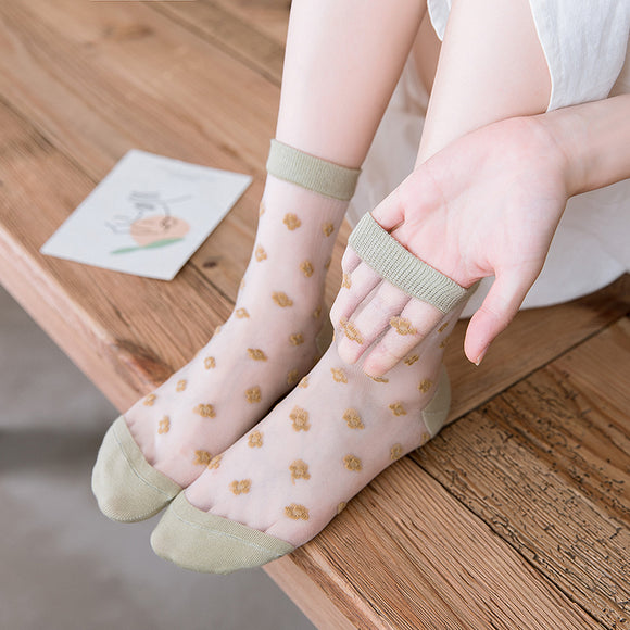 Cute Candy Color Flower Print Ultra Thin Lace Mesh Loose Socks