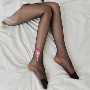 Handmade Flamingo Ultra Thin Breathable Women Thigh High Stockings Pantyhose - chicstocking