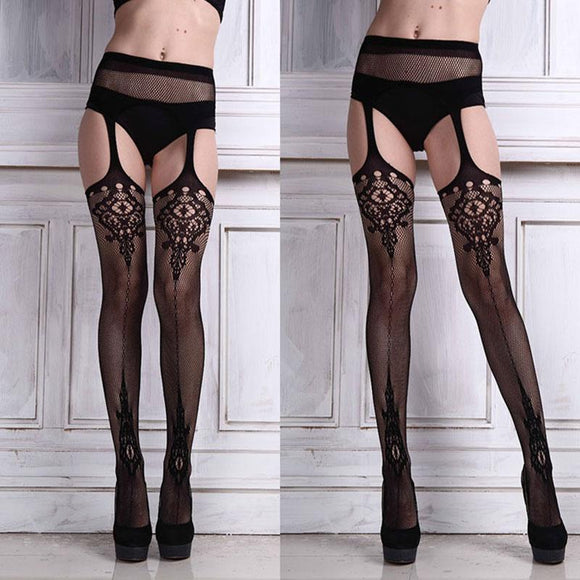 Sexy  Highly Elasticity Thigh High Stockings with Suspender Garter Belt - chicstocking