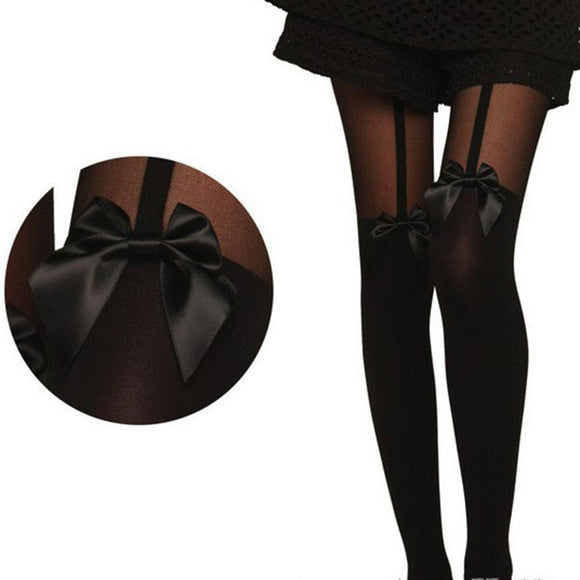 Black Boot Elastic Soft Cotton Sexy Women Bow Suspenders Pantyhose Stockings - chicstocking