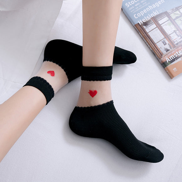 Summer Love Heart Glass Silk Short Socks - chicstocking